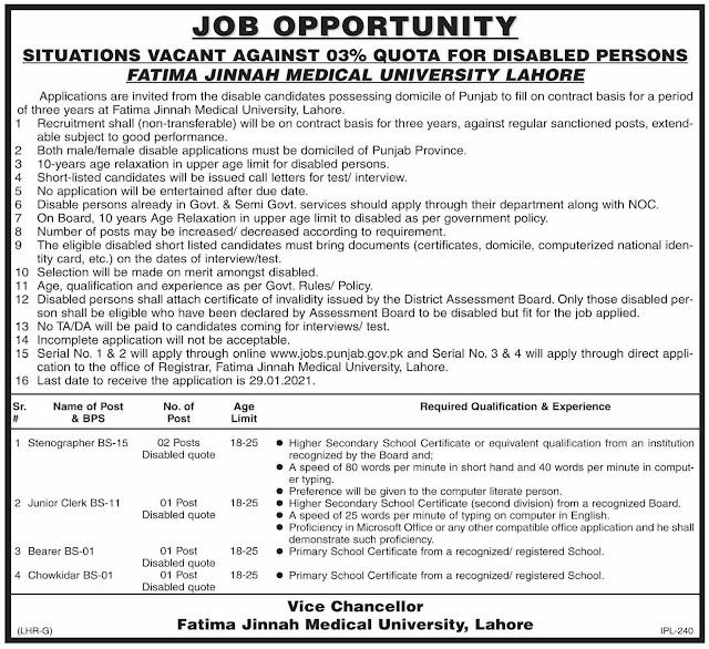Jobs at Fatima Jinnah Medical University in 2021