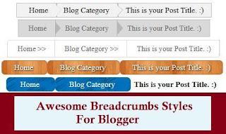 Blogger Breadcrumbs, Google Type Breadcrumbs, Add Breadcrumbs, Blogspot Breadcrumbs ,Blogger Breadcrumb Styles