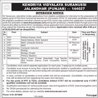 Kendriya Vidyalaya, Suranussi, TGT, PGT, Sports Coach, Recruitment 2018