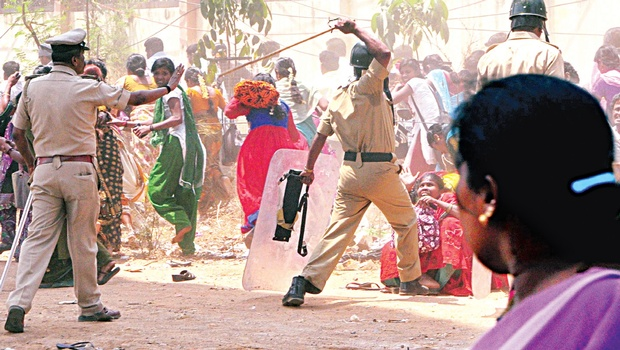 Women activists are upset that male police constables lathi charged protesting women  garment workers during their protest in Bangalore.  Protesting garment workers, mostly women, poured into streets on Monday and Tuesday opposing the new PF rule. Miscreants used the opportunity to set fire to vehicles and attack police.  Several videos, which show male constables thrashing women are doing rounds, on social media.