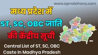 SC caste list in Madhya Pradesh, SC Caste list in MP, OBC Caste List In MP, OBc Caste in Madhya Pradesh,