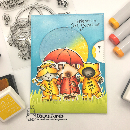 Friends in any weather by Claire features Newton's Rainy Trio by Newton's Nook Designs; #newtonsnook, #inkypaws, #friendship, #cardmaking, #catcards