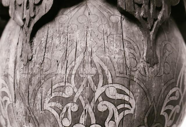 Ouzbékistan, Tachkent, motif sur colonne, © Louis Gigout, 1999