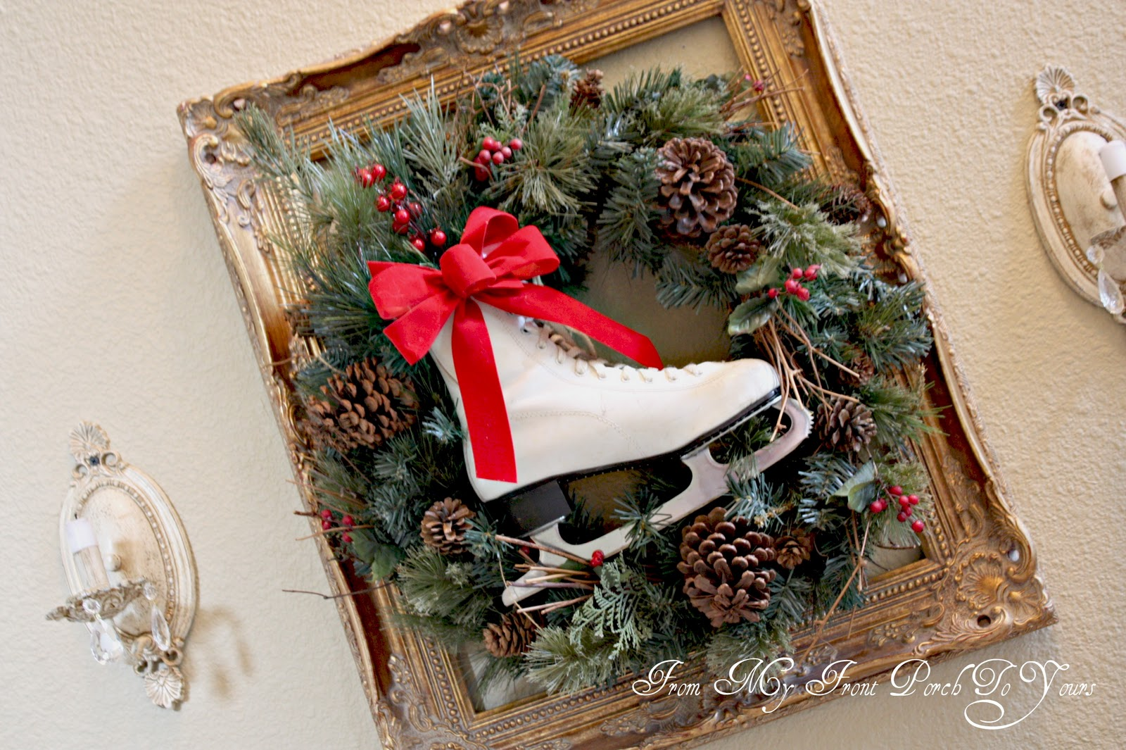 ice skate wreath from my front porch to yours - Ice Skate Christmas Decoration