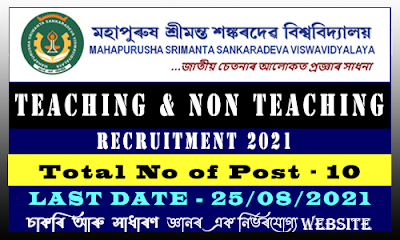 MSSV Nagaon Teaching and Non Teaching Staff Recruitment 2021