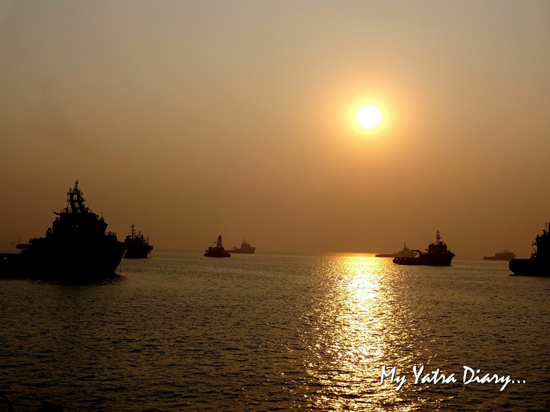 Sunrise view from the M2M Ro-Ro ferry Mumbai to  Alibagh