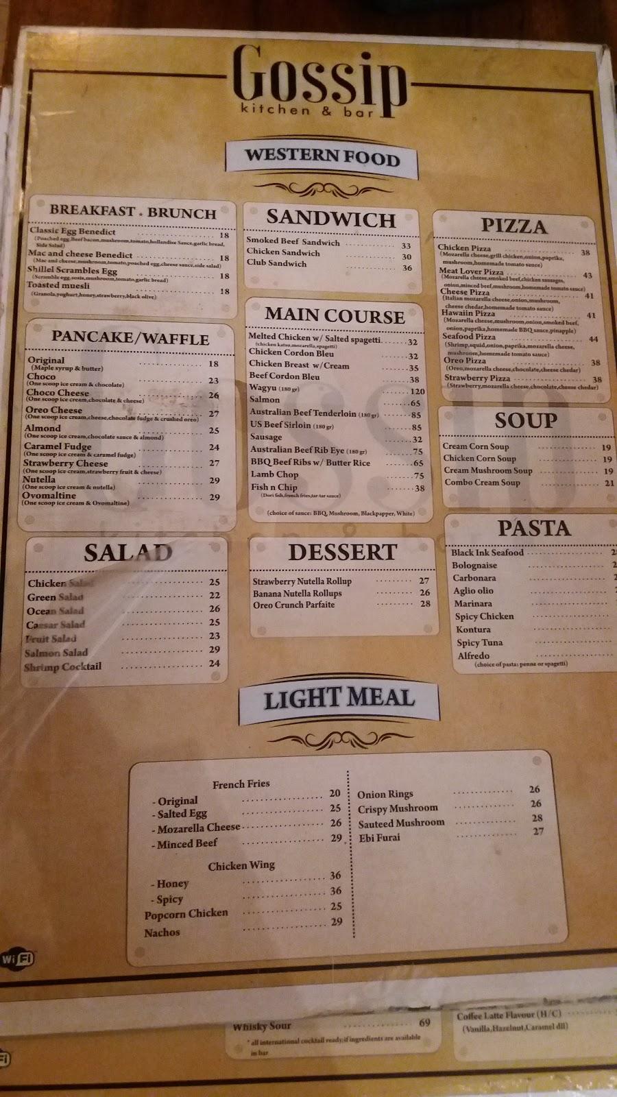 Daftar menu gossip kitchen bar semarang