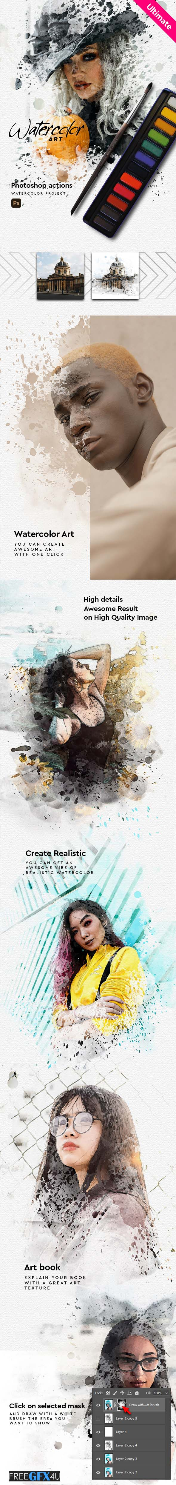 Watercolor Art Aquarelle Photoshop Action
