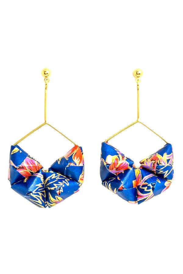 pair of blue paper bead origami earrings in hexagonal shape