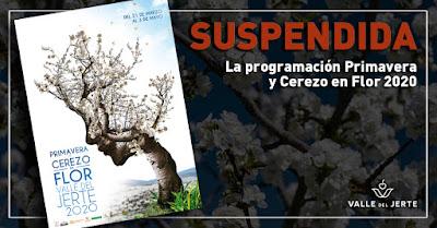 SUSPENDIDA la programación Primavera y Cerezo en Flor 2020 del Valle del Jerte