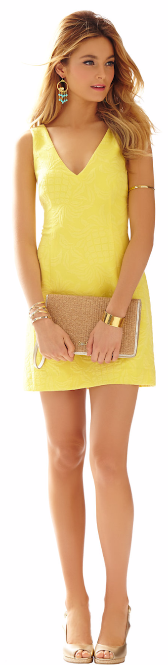 LILLY PULITZER MADDEN SLEEVELESS V-NECK DRESS YELLOW