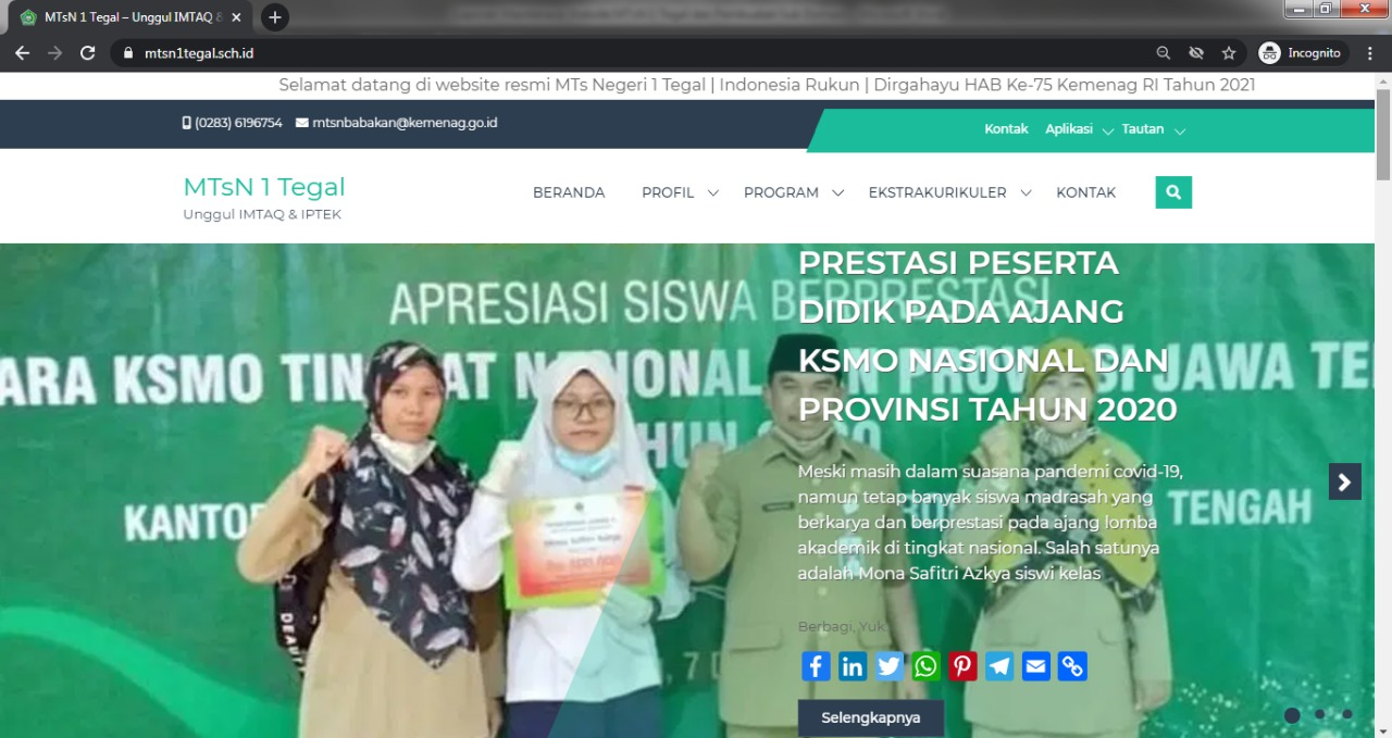 Website Resmi MTsN 1 Tegal