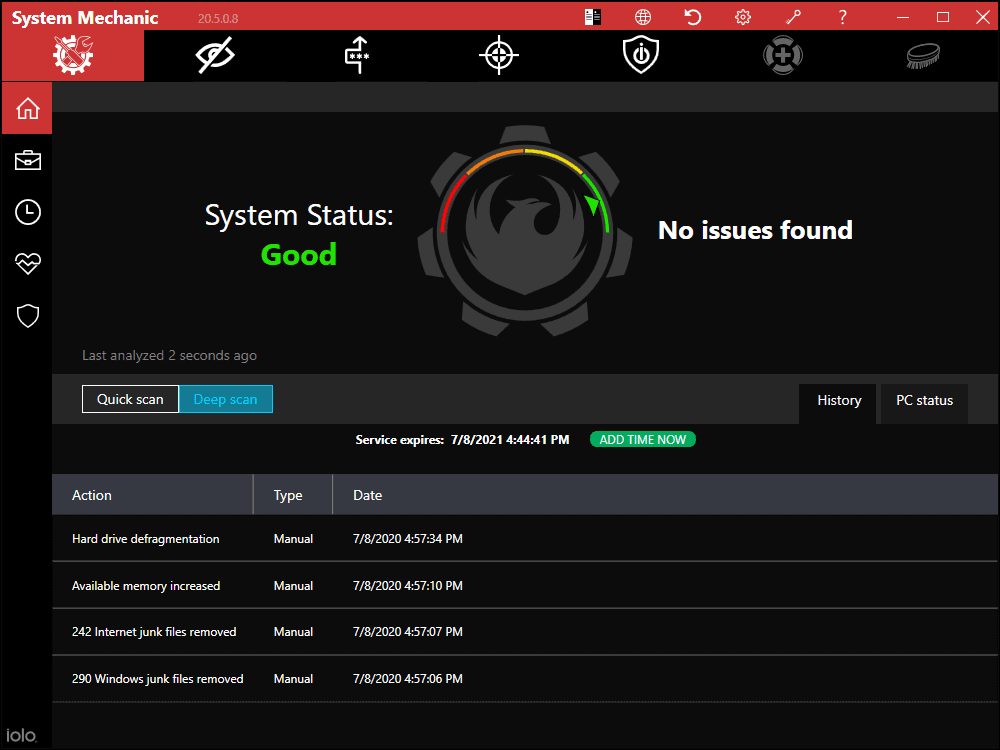 System Mechanic Dashboard Screenshot