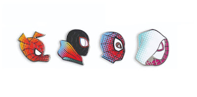 San Diego Comic-Con 2019 Exclusive Spider-Man: Into the Spider-Verse Portrait Enamel Pin Series by Matt Taylor x Mondo