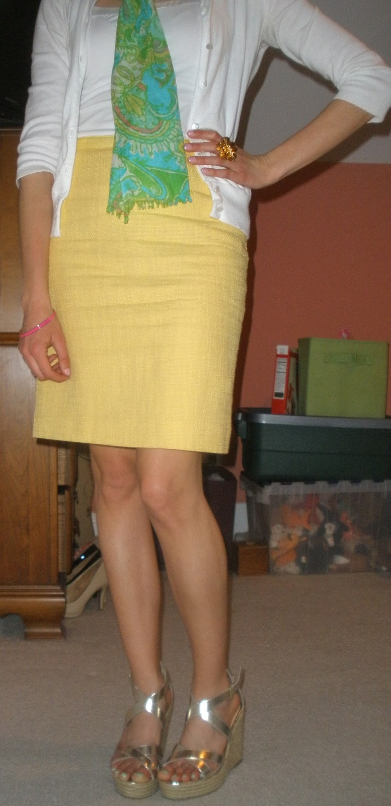 193725cf91 ... as a fun yellow pencil skirt and metallic espradille wedges from the Banana  Republic Outlet. This is a great wear-to-work look for Spring!