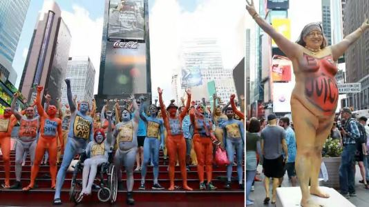 Models pose naked in New York's Times Square to promote body positivity
