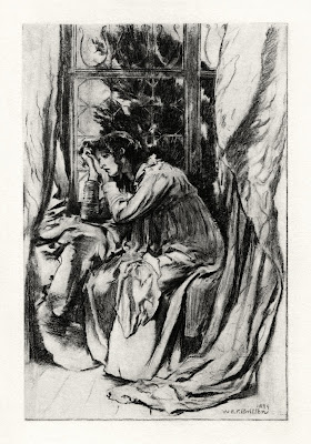 Mariana, a photogravure by W E F Britton of the Tennyson poem: a sad woman leaning on her hands