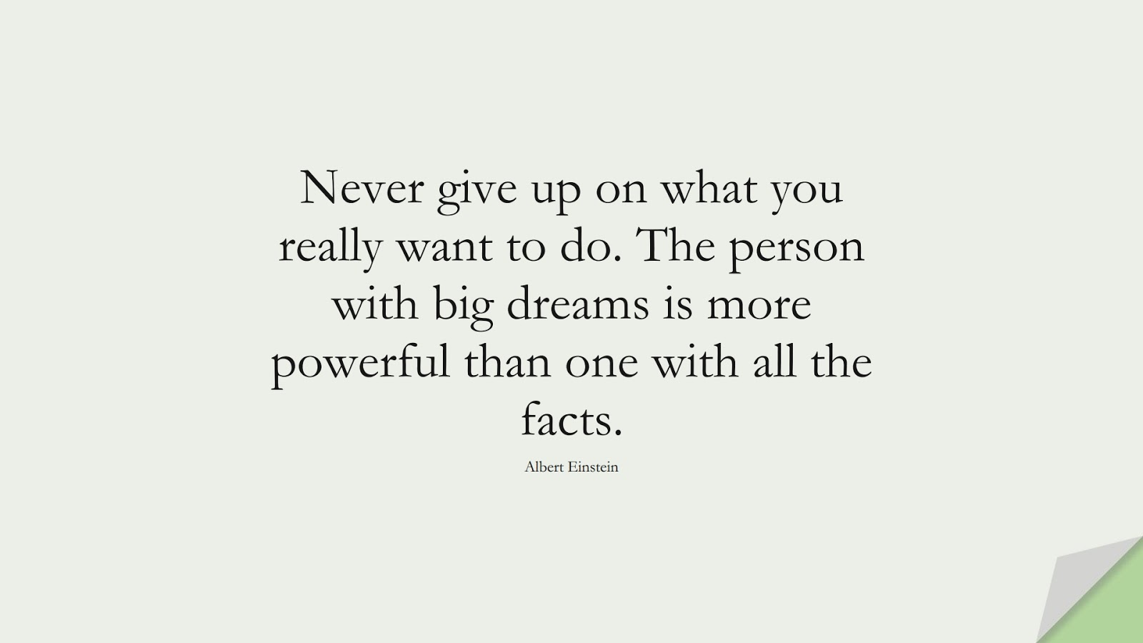 Never give up on what you really want to do. The person with big dreams is more powerful than one with all the facts. (Albert Einstein);  #PerseveranceQuotes