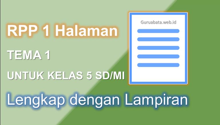 Contoh RPP 1 Halaman Kelas 5 Tema 1 Lengkap Dengan Lampiran