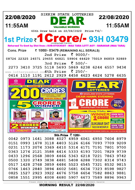 Sikkim State Lottery Sambad 22-08-2020 Today Result 11.55 AM