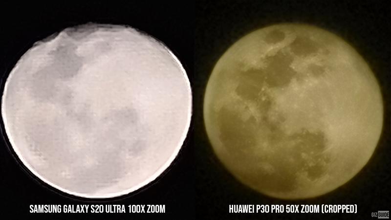 Samsung Galaxy S20 Ultra 100x zoom vs cropped Huawei P30 Pro 50x zoom