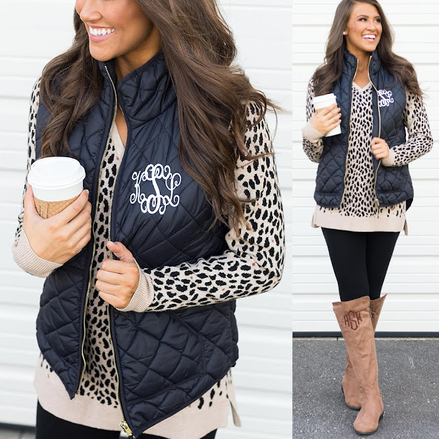 monogrammed black puffy vest with leopard sweater and leggings