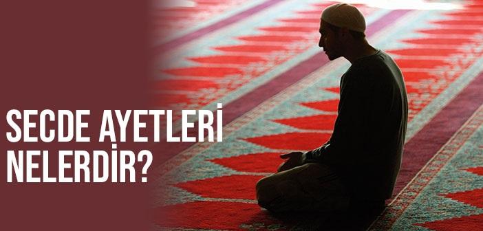 Secde Ayetleri, Kur'an-ı Kerim'deki 14 Adet Tilavet Secdesi Yapmayı Gerektiren Ayet