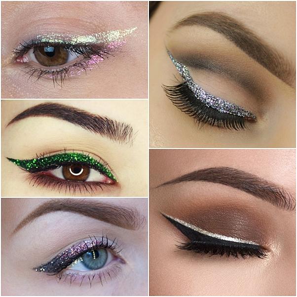 como fazer delineado glitter maquiagem