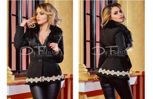 Palton dama elegant scurt negru cu blanita la gat si broderie