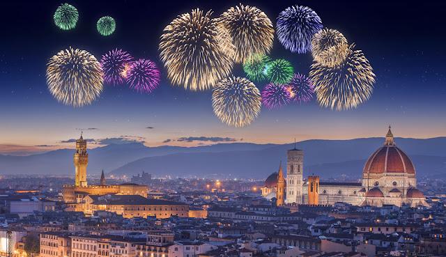 Show de fogos em Florença na Itália