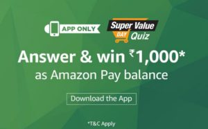 Amazon Super Value Quiz Contest,