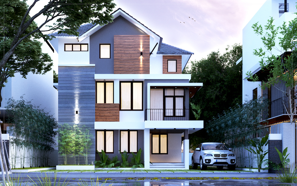 Simple mixed type house 2300 sq ft 4 bed room residence
