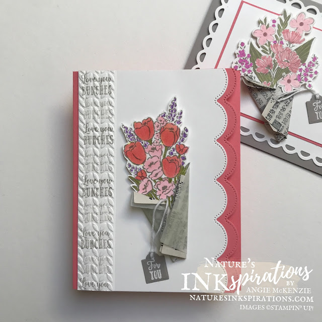 By Angie McKenzie for Stamping INKspirations Blog Hop; Click READ or VISIT to go to my blog for details! Featuring the Wrapped Bouquet Bundle consisting of the Wrapped Bouquet Cling Stamp Set and the Wrapped Flowers Dies, the Jar of Flowers Photopolymer Stamp Set, and the Scalloped Contours Dies by Stampin' Up!® to create some special wrapped bouquets for the Mother's Day; #mothersdaycards #stampinginkspirationsbloghop #naturesinkspirations #wrappedbouquetbundle #wrappedbouquetstampset #wrappedflowersdies #scallopedcontoursdies #jarofflowersstampset #newspaperwrappedflowers #handmadecards #coloringwithblends #coloringvellum #prettyenvelopes  #fussycutting #cardtechniques