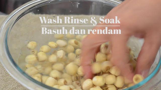 Wash and soak lotus seeds