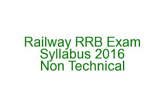 Railway Recruitment Board Exam Syllabus 2016