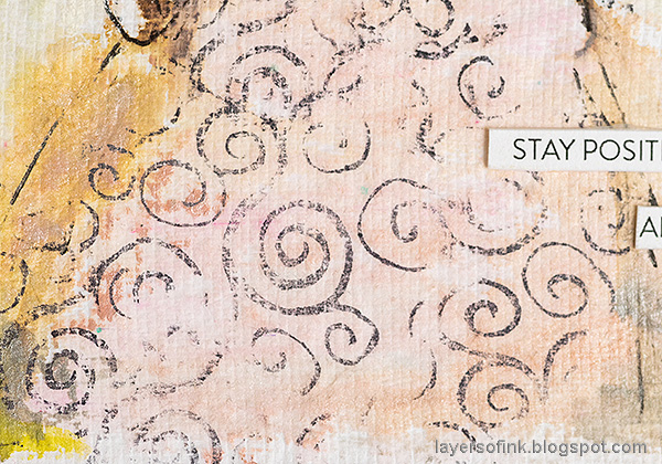 Layers of ink - Pastel Journal Page Tutorial by Anna-Karin Evaldsson. Stamp pattern to the clothing.