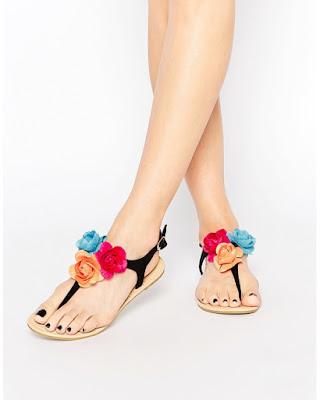 floral embellished flip flop sandal