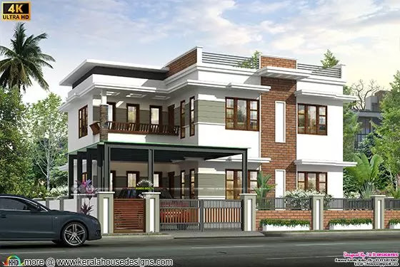 Modern style flat roof 4 bedroom home