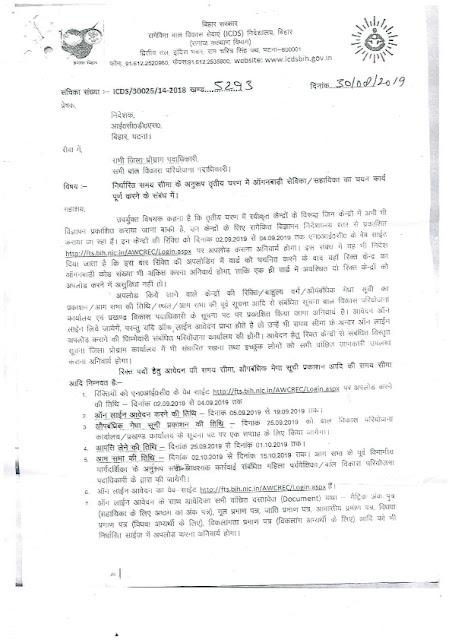 Recruitment of Aanganwadi Sevika/ Sahayika posts in ICDS, Bihar