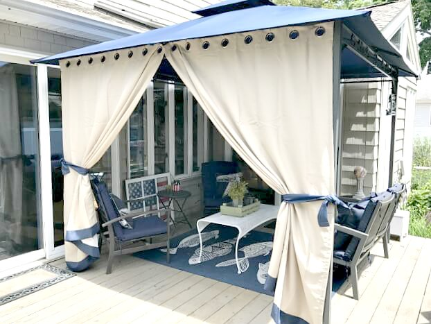 gazebo curtains on a summer deck