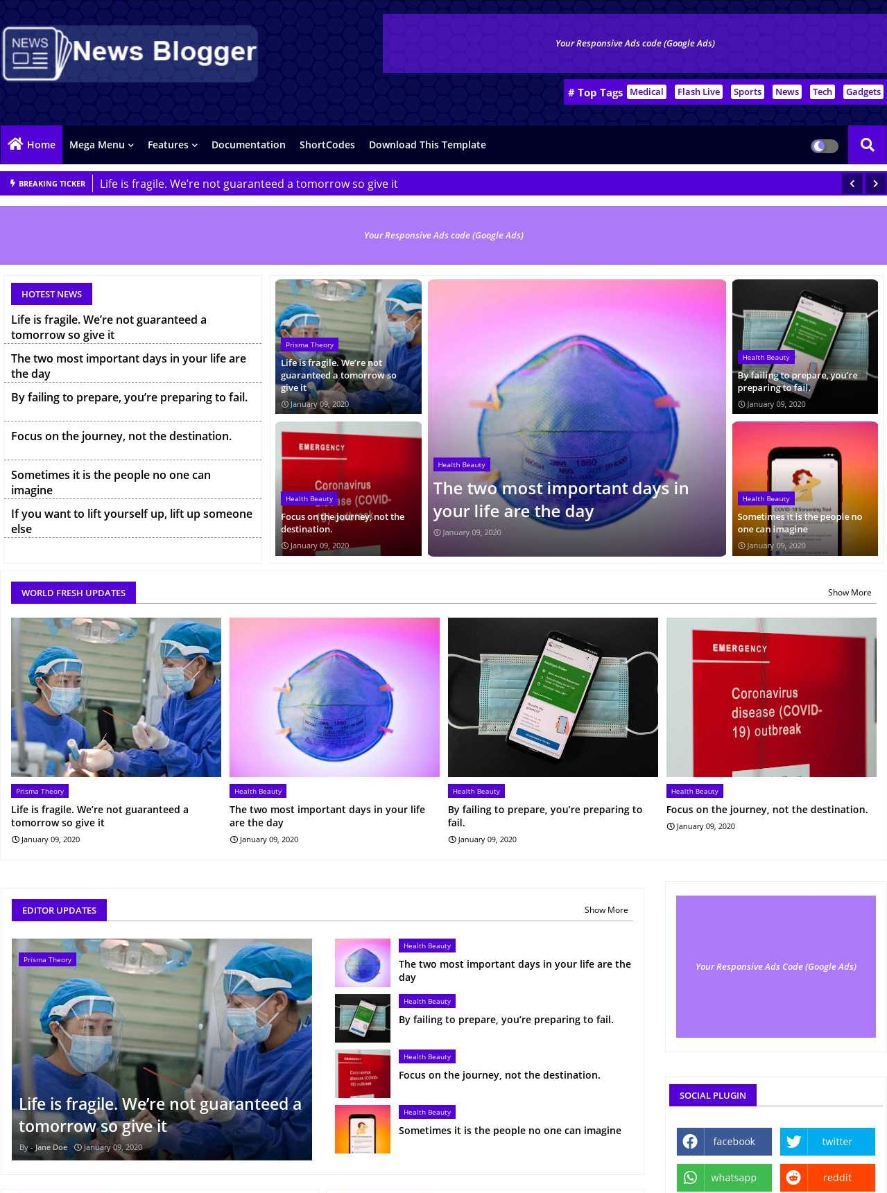 News Blogger  Professional And Magazine Template
