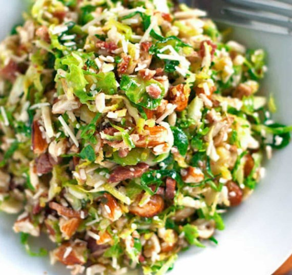 Bacon and Brussel Sprout Salad Recipe #vegetarian #glutenfree