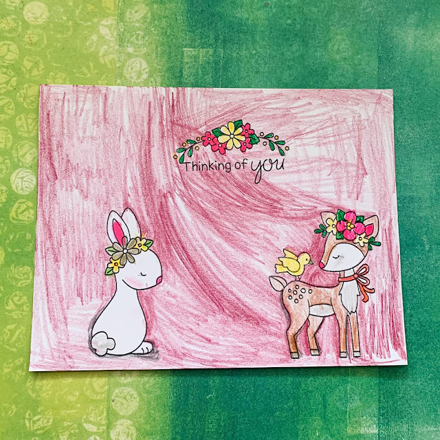 Bunny and deer card by February Guest Designer Caitlin Anthonys daughter | Woodland Spring Stamp Set t by Newton's Nook Designs