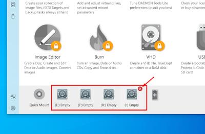 Remove virtual drive in DAEMON Tool
