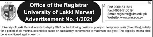 Jobs in Lakki Marwat University 2021 - University of Lakki Marwat Jobs