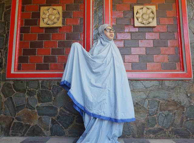 mukena Siti khadijah TPO Grey In Blue, telekung siti khadijah