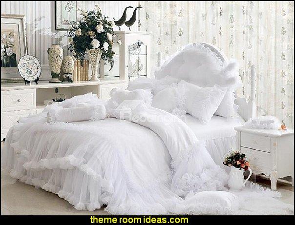 Romantic Lace Trim Cotton Cinderella Duvet Cover Sets