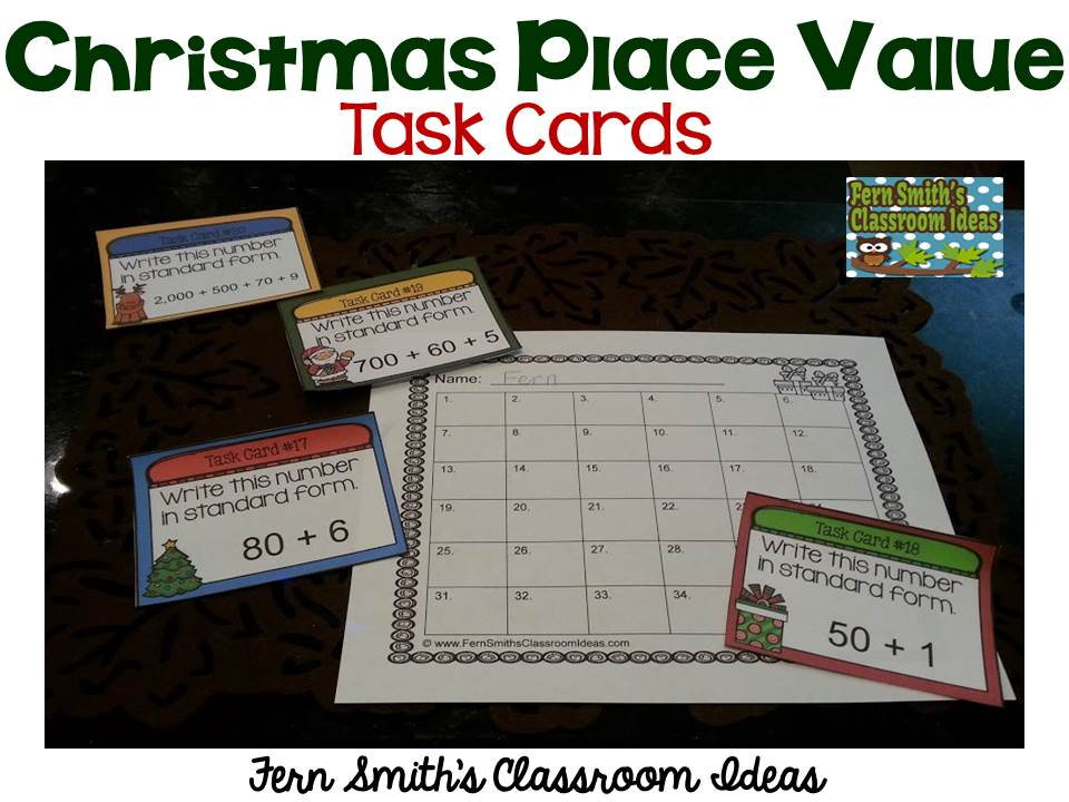 Fern Smith's Classroom Ideas Christmas Place Value - A Week's Worth of Place Value for Second and Third Grade, task cards only..