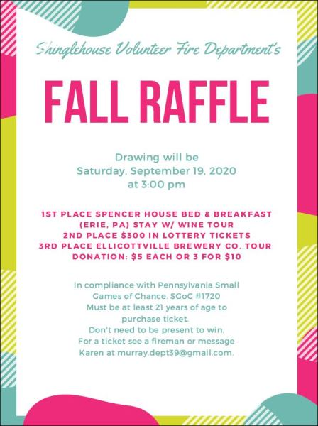 9/19 Shinglehouse Fire Dept. Fall Raffle