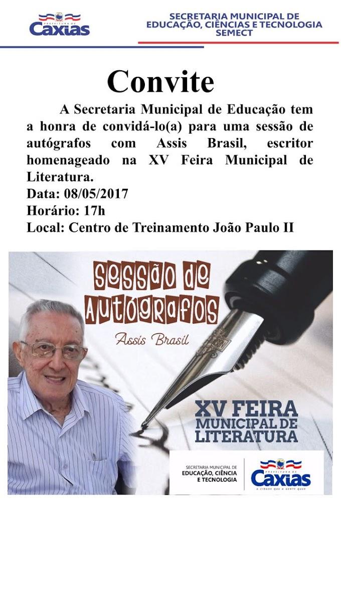 Renomado escritor Assis Brasil estará no lançamento oficial da XV Feira Municipal de Literatura em Caxias-MA